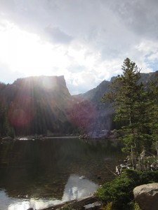 I loved the sun beams shining on Dream Lake.