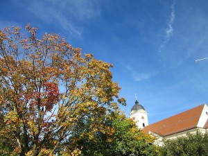 St. Laurentious peeking out behind the changing leaves