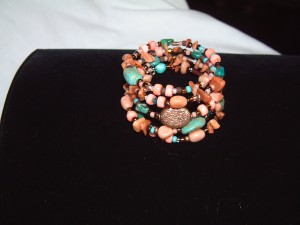 Coral and Turquoise Memory Bracelet
