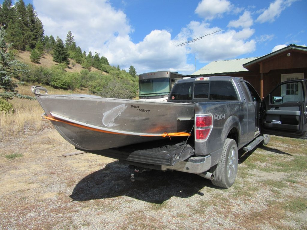Aluminum boat loaded