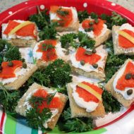 Smoked Salmon Canapes garnished 3 ways