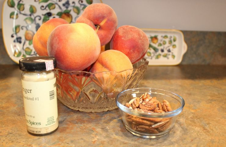 Gingered Peach Pecan Muffins